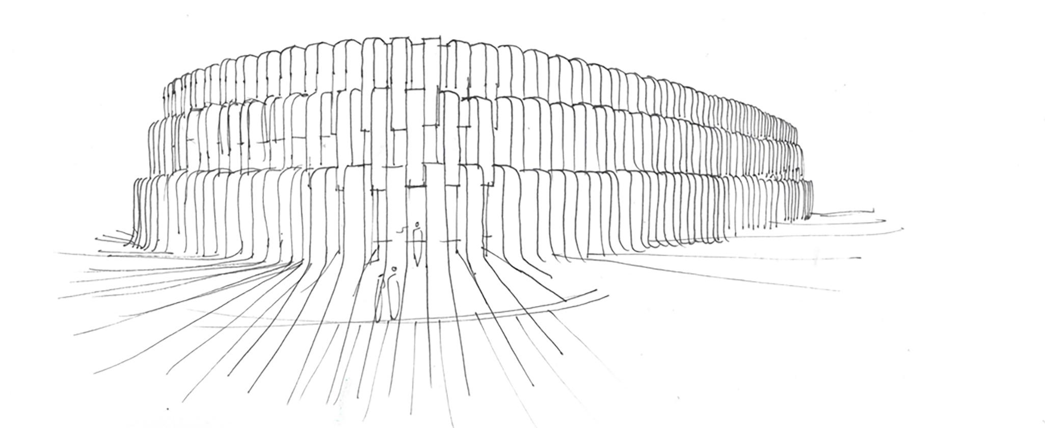 Turkestan Museum Facade sketch